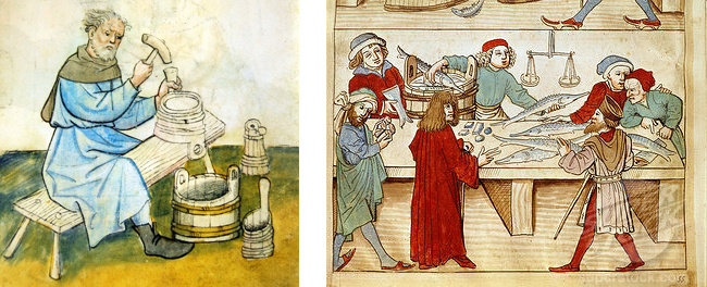 On the left is a Cooper, on the right are Fishmongers. Both are medieval jobs. Why is only one a familiar first name for a boy?